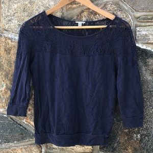 Forever 21 Navy top with crochet detail